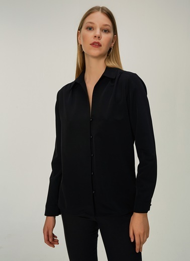NGSTYLE Düğme Detaylı Gömlek Siyah